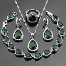 green stone necklace pendant images Silver color jewelry sets for women green stones white cz bracelet jpg