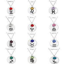 stone charm necklace images 12 zodiac signs constellation necklace round colorful birthday jpg