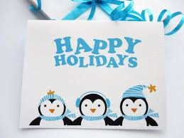 6 penguin cards happy holidays card with 3 winter