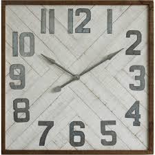 square wood wall clock with metal numbers antique farmhouse