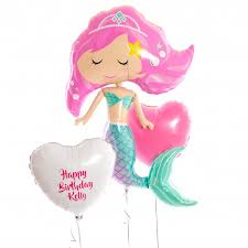 personalised birthday balloons inflated personalised mermaid happy birthday balloons inflated
