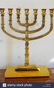 seven branched menorah a golden seven branched menorah stock photo 129002652 alamy