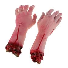 costume ball 2x severed bloody fake lifesize arm hand party