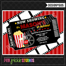 movie ticket personalized party invitation