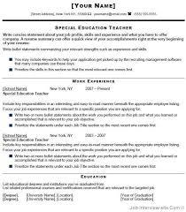 Special Education Assistant Resume Special Education Resume Samples Haadyaooverbayresort Com