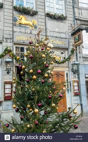 christmas decorations on the golden restaurant in aachen