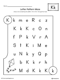 letter k pattern maze worksheet myteachingstation com