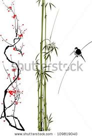 bamboo cherry blossom tree tattoo design on white background