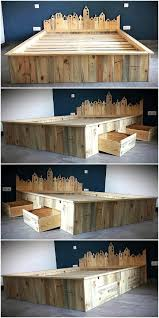 Wood Bed Frame With Shelves Recycled Wooden Pallet Giant Bed Frame With Storage Pallet Ideas