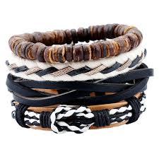 bracelet man images 4pcs set handmade rope leather bracelet man beads charm wrap jpg