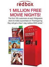 free redbox rental at walgreens on thanksgiving day 130 at