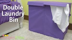 laundry hamper collapsible modern littles color pop folding double laundry basket youtube