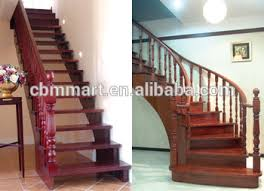 L Shaped Stairs Design Solid Wood Material L Shaped Staircase With Wood Handrail Design