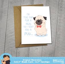 i miss you pug card approximately 5 x 7 blank card with
