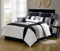 bedroom white and gray comforter sets using black and grey line