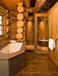 log cabin interior design bathroom with wooden walls and corner
