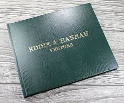 leather album company guest books green and bespoke on