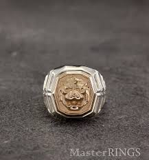 large silver rings images Lion head signet ring lion silver and gold ring men lion jpg