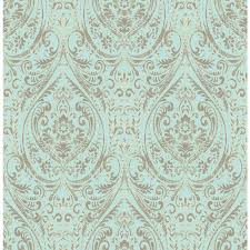 Non Permanent Wallpaper Nuwallpaper Blue Nomad Damask Peel And Stick Wallpaper Nu2079