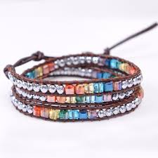bracelet color crystal images Adorable chakra bracelet handmade leather wrap multi color crystal jpg