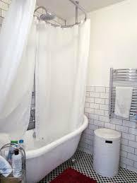 Bathroom Shower Curtain Rod Bed Bath Minimalist Bathroom With Brushed Nickel Shower