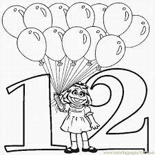 free printable number 12 coloring pages u2013 twelve balloons