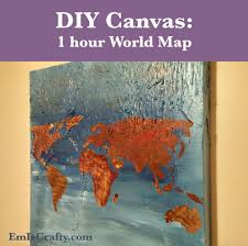 Diy World Map by A World Map Canvas Painting In 1 Hour U2013 Em Is Crafty