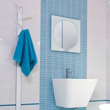 Blue Bathroom Tile by Decko Antille Blue Geo Scored Blue Ceramic Bathroom Tiles Wall