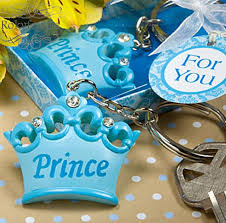 prince baby shower favors free shipping 30pcs blue crown prince keychain baby shower favors