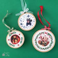 embroidered christmas diy embroidered photo ornaments for christmas shelterness