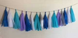 purple decorations frozen tassel garland purple blue white and silver garland