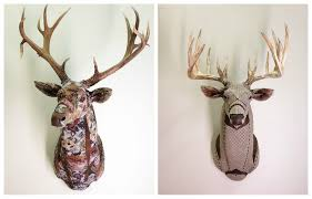Fake Deer Head Wall Mount Artist Makes Life Sized Faux Taxidermy Animals From Upcycled