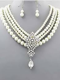 pearl necklace with pendant images Four strand ivory faux pearl rhinestone pendant necklace blue jpg