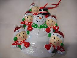 5 family snowman with peple ornament personalized