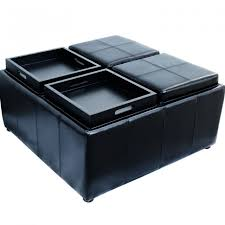 Black Storage Ottoman With Tray Black Leather Storage Ottoman With 4 Trays Home Design Ideas