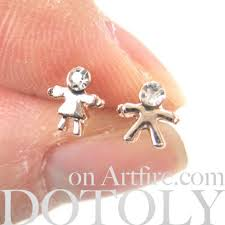 boy earrings tiny girl and boy stud earrings with rhinestone detail in light