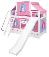 Maxtrix Playhouse Tent Bunk Bed W Slide Hot Pinkblue On White - Pink bunk bed