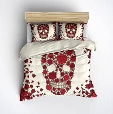 featherweight skull bedding red flower skull printed on cream