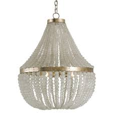 White Murano Chandelier by Edisto Hollywood Regency Style White Beaded Chandelier Kathy Kuo