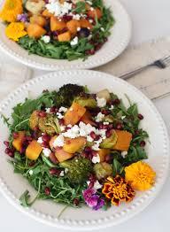 roasted vegetable salad with goat cheese and arugula sunday bites