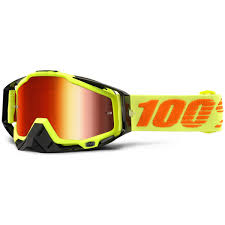 mirrored motocross goggles 100 percent new mx racecraft attack yellow mirror red tinted