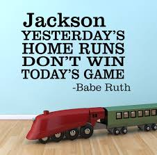 yesterday s home run quote by decor designs decals baseball wall de yesterday s home run quote baseball wall decal striking out vinyl lettering boy