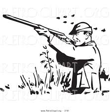 retro clipart of a retro black and white hunter wading and