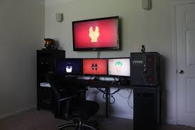 Sick Dorm Room Media Center Setup And Workstation New by Multi Monitor Workstation With Tv Desk Workspace Inspiration