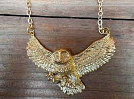 long gold owl necklace images Owl in flight necklace jpg