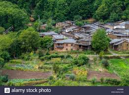 beautiful old village of stone houses surrounded by forests and