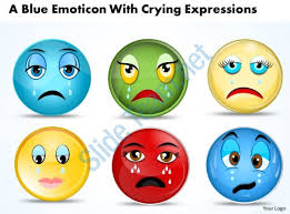 business powerpoint templates blue emoticon with crying