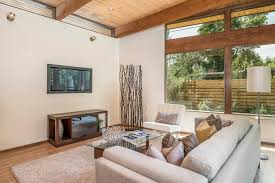 Mid Century Modern Living Room by Frank Lloyd Wright Style Home Staging Design By White Orchid