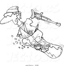 cartoon vector of cartoon injured snowboarder coloring page