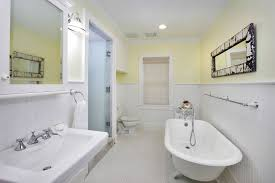 Wainscoting Panels Mdf Cottage Master Bathroom With Penny Tile Floors U0026 Frameless